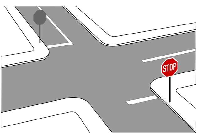 2-Way Stop in the Driver's Ed Test